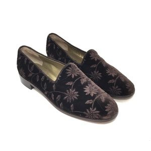 Yves Saint Laurent Brown Embroidered Velvet Loafer